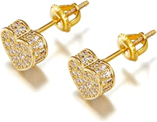 Iced Out Cubic Zirconia Screw Back 18k Gold Plated Round Stud Earring For Men and Women Hypoallergenic Earring TwoTone Mic...