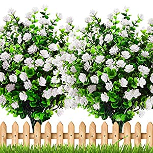 Artificial Flowers Outdoor Fall Plants – 6 Bundles Outside Face Fake Spring Greenery UV Resistant No Fade Faux Daffodils Shrubs Home Garden Porch Patio Decoration Office Indoor (White)