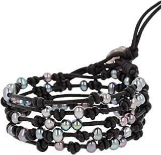 Peacock Blue Freshwater Cultured Pearls On A Black Knotted Leather Wrap Bracelet