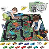 BeebeeRun Racing Car Toys Set with Play Mat,17 PCS Metal Model Car Vehicle Playset for Kids Toddlers,Toy Cars for 2 Year Old Boys,Gifts Boxed