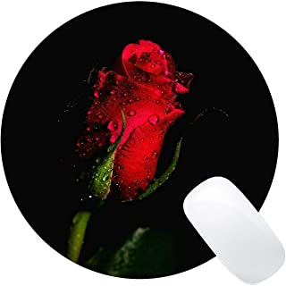 Gaming Mouse Mat, Red Rose Water Drop Rose Flower -Stitched Edges