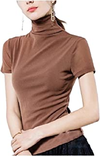 Howely Womens Baselayers Stretch Soft Short Sleeve Turtleneck Tops Blouses