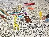 JEKA Papier-Tischdecke zum Ausmalen, Motiv Zoo, Kindertischdecke, Kindergeburtstag, Kinderbeschäftigung, Mal Mich Bunt - 2