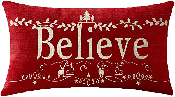 NIDITW Nice Believe With Leaves Christmas Trees Reindeer Snowflakes Waist Lumbar Cotton Linen Throw Pillowcase Cushion Cover Sofa Chair Decorative Oblong Long 12x20 Inches