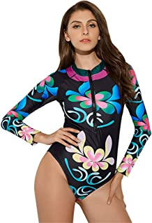 Floral Print UPF50+ One Piece Rash Guard, Women Zip Long Sleeve Sun Protection Swimsuit, Summer Beach Bathing Suit for Water Sports Diving Swimming
