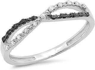 0.10 Carat (ctw) White & Black Diamond Infinity Swirl Wedding Anniversary Band 1/10 CT, Sterling Silver