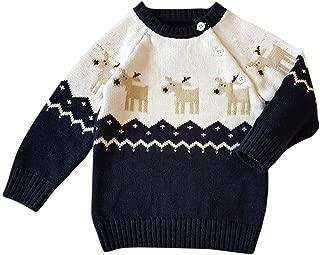 Elogoog Unisex Toddler Baby Cotton Coat Cute Christmas Reindeer Pullover Button Up Sweater