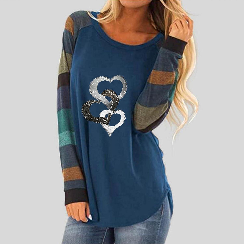 felwors Sweatshirt for Women,Womens Floral Printed Shirts Color Block Long Sleeve Crewneck Sweatshirts Casual Blouses