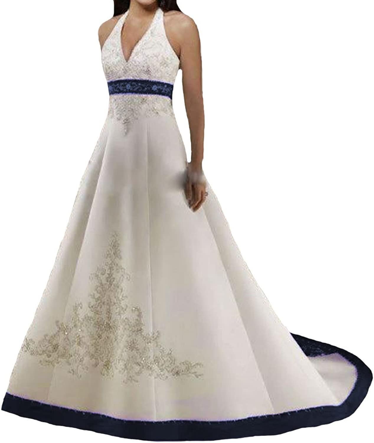 W.W Halter Handmade Embroidery Satin Vintage colord Wedding Dresses Gothic Bridal Gowns