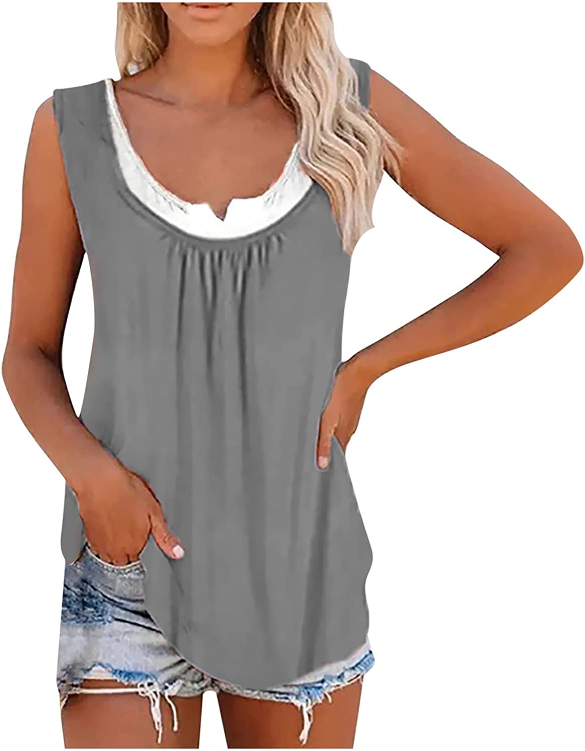 Womens Summer Tops 's Blouse New Casual Loose Color Splicing Classic Vest Tops