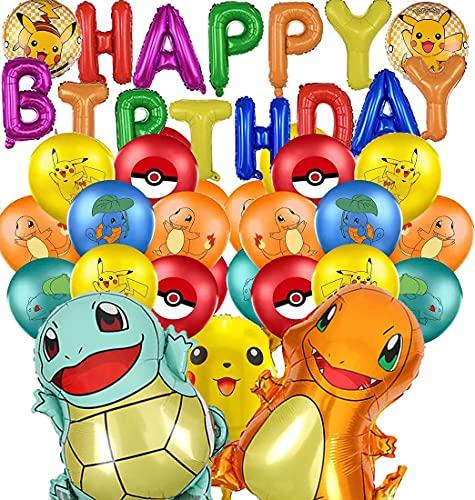 Juego de decoración de fiesta de Pokémon para cumpleaños, globos de foil con texto 'Happy Birthday', para niños