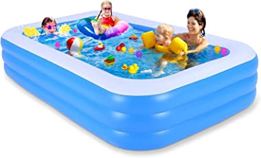 """Inflatable Swimming Pool, 118"""" X 69"""" X 21"""" Full-Sized Family Kiddie Blow up Pool for Kids , Adults, Baby, Childre"""