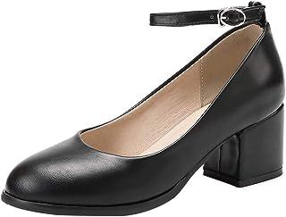 [JYshoes] ラウンドトゥパンプス アンクルストラップローヒール 厚底スクエアヒールシューズ 走れるパンプスストラップ痛くない美脚 レディース卒業式 入学式 オフィス 靴