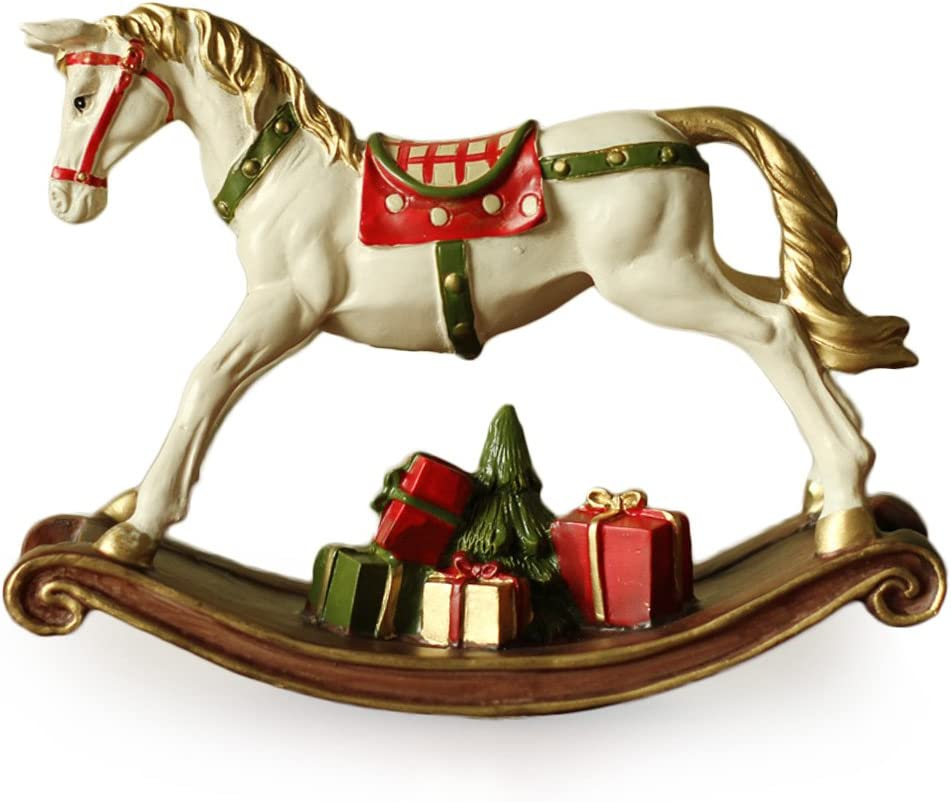 Amazon Com Ornerx Christmas Rocking Horse Figurine With Gifts 7 By 8inch Home Kitchen