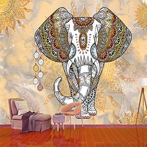 Badkamer Zelfklevend Behang 3D 3D Zuidoost-Aziatische Stijl Olifant Behang Hotel Thaise Voedsel Schoonheid Salon Woonkamer Eetkamer Achtergrond Decoratie Behang Illustratie 350cmx245cm
