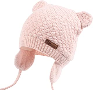 Bear Ears Baby Hat Cotton Newborn Baby Earflap Beanie Double Layer Warm Winter Hat for Baby Girls Boys Knitted Kids Hats Spring Baby Hat Hat for Babyhats for Baby Girl