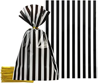 Black Cellophane Bags 5.5x8 inch with Twist Ties for Treat Candy Cookie Party Favor Bags, Black White Stripes,Pack of 100