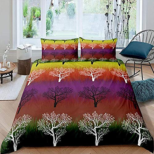 HUA JIE Queen Bed Set Rainbow Tree 3Pc Bedding Set Full Kids Girls Colourful Branch Duvet Cover Lightweight Microfiber Pattern Comforter Watercolor Leaves Room Decor Women