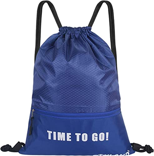 SUNLAND Waterproof Drawstring Backpack Sport Beach Gym Bag with a Front Zipper Pouch for Women Men Children