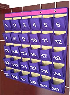 30 Pocket Chart Purple Large Cell Phone Calculator Hanging Organizer for Classroom