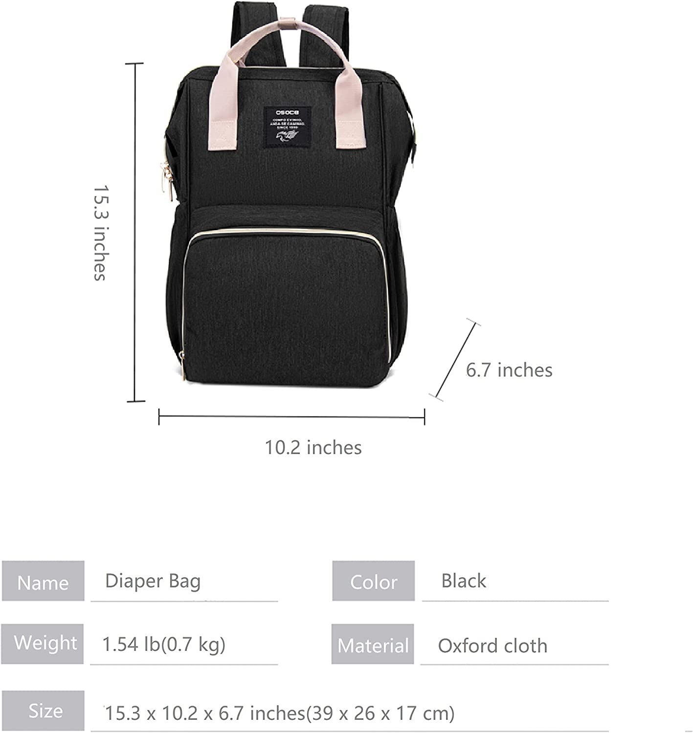Large Capacity Diaper Bag, Multifunction Travel Backpack for Baby and Maternity, Multiple Pocket Design, with Insulation Pockets. (Black)