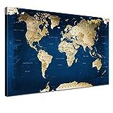 LANA KK Leinwandbild - Weltkarte Ocean - in 100 x 70 cm,