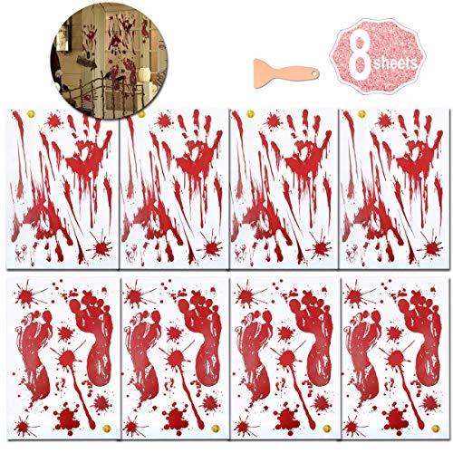 AniSqui Halloween Händeaufkleber für Fenster, 8 Bögen, Halloween, Dekoration