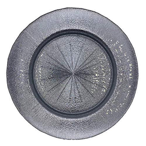 Urquid Linen, Metallic Glass 13' Charger Plate, Set Of 4, Use for Elegant Wedding Décor, Luxe Dinner Parties and Special Events, and Any Elegant Occassion (Silver)