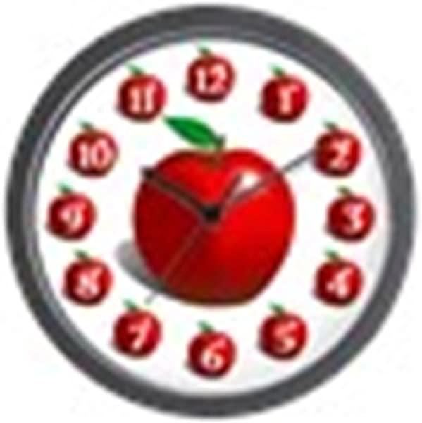 CafePress Red Apple Fruit Pattern Unique Decorative 10 Wall Clock