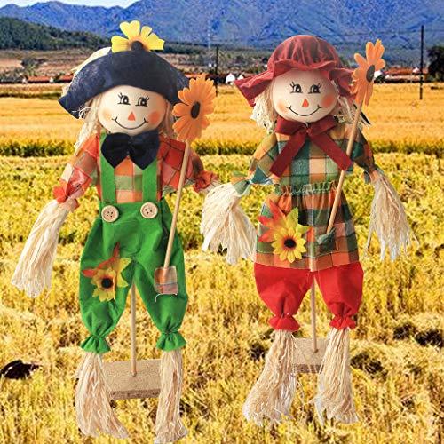 AIPINQI espantapájaros para decoración de otoño, cosecha de otoño, espantapájaros de Halloween, decoración para jardín, hogar, escuela, patio, porche, decoración de Acción de Gracias