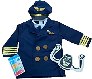 (ADOSSY) パイロット 操縦士 コスプレ 衣装 子ども おもちゃ セット キッズ 仮装 パーティー ハロウィン (パイロット)