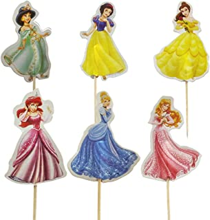 24pcs The Disney Princess Cupcake Toppers for Birthday Party Cake Decoration Supplies(Sleeping Beauty,Jasmine,Belle,Snow White,Ariel,Cinderella)