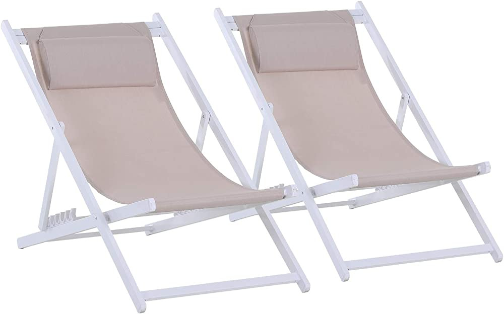 Outsunny set da 2 sedie sdraio per esterno pieghevoli e reclinabili in alluminio e textilene ad alta densità IT84B-342WT0631