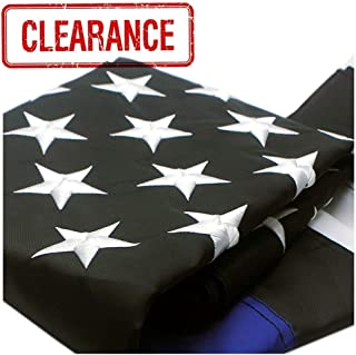 VSVO Thin Blue Line Flag 3x5 ft - 300D Nylon - Embroidered Stars and Sewn Stripes with Grommets Black White and Blue American Police Flag