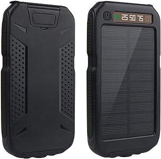 TWDYC Solcellsbank utomhus 10 000 mah, extern batteripaket, dubbel lampa bärbar USB-mobilladdare med LED, kompatibel med S...