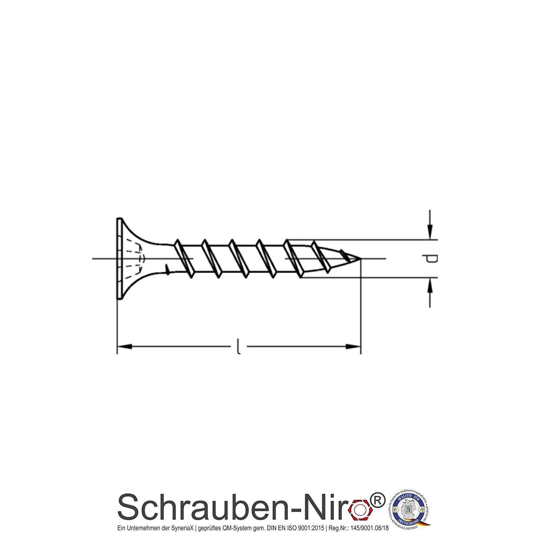 je 1 Bit pro Bestellung 1000 St/ück 3,9 x 30 mm Schnellbauschrauben Rigipsschrauben Trockenbauschrauben gratis Tiefenstopp-Bit