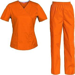 Divisa Completa da Lavoro Medico Infermiera Arancione OSS Sanitario Estetista Unisex Cotone