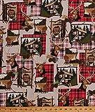 Cotton Northwoods Scenes Cabins Lodge Deer...