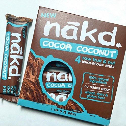 Nakd barras cacao Nuez de coco – sin gluten, sin lactosa, cruda Certificado Paleo, Vegano   4 barritas energéticas   Nakd