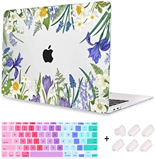 Macchen MacBook Air 11 inch Case Print Crystal Clear Hard case Keyboard Cover Dust Plug for MacBook Air 11 inch Model A1370/A1465, Flowers and Plants