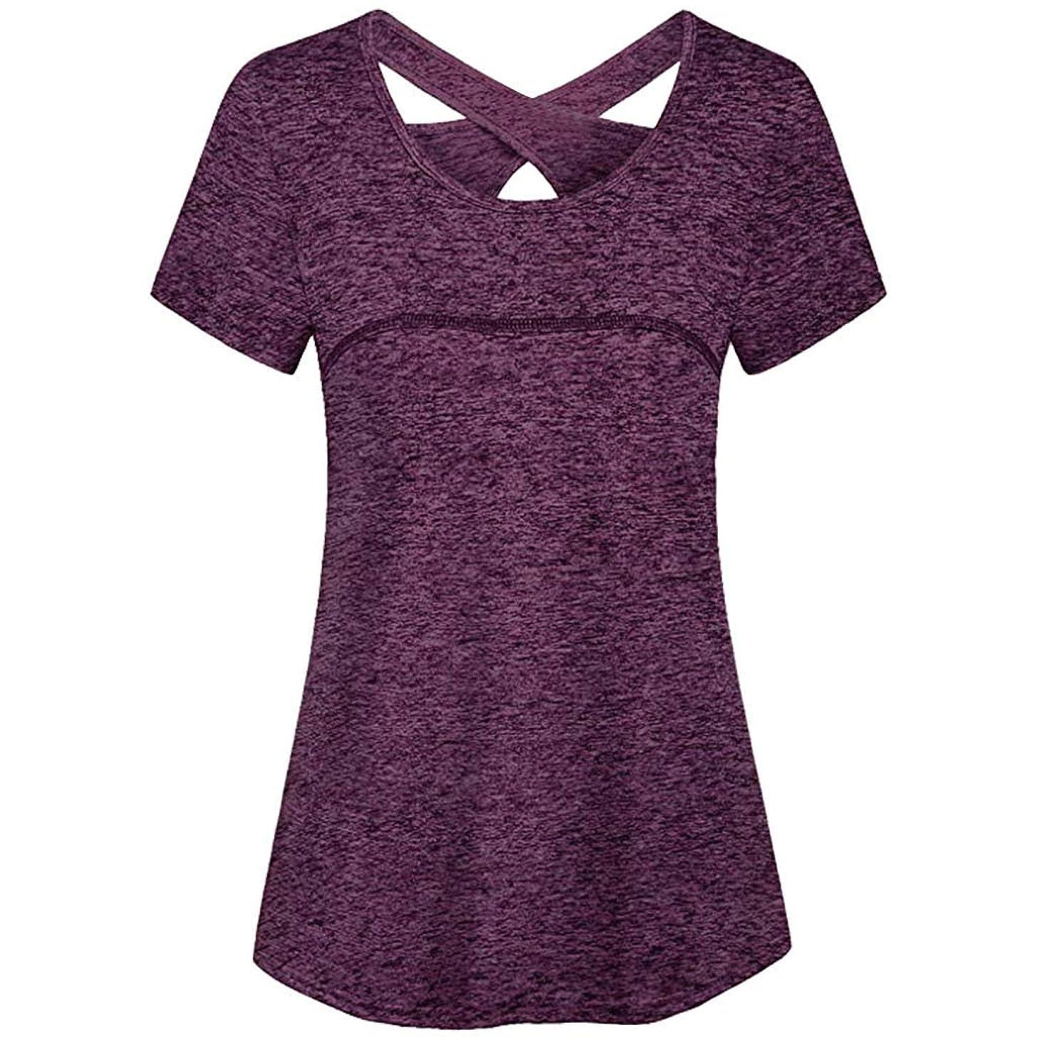 Sttech1 Women Causal Short Sleeve Round Neck Criss Cross Back Sport Yoga Shirt Tank Top Blouse