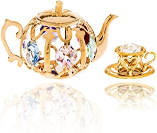 Matashi 24K Gold Plated Miniature Teapot and Teacup Ornaments Set Crystal Studded Perfect Hostess Gift, for Mom, Grandmother, Girlfriend