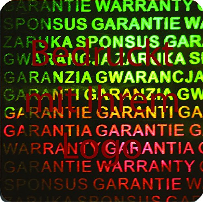 EtikettenWorld BV, EW-H-3100-67-tdr-700, 700 Stück Hologrammaufkleber, 2D, 20x20mm grünfarbige Metallfolie, bedruckt in dunkel-rot mit Ihrem Wunschtext Logo, Hologramm Etiketten, selbstklebend, Hologramm Aufkleber, Sicherheitssiegel, Garantiesie