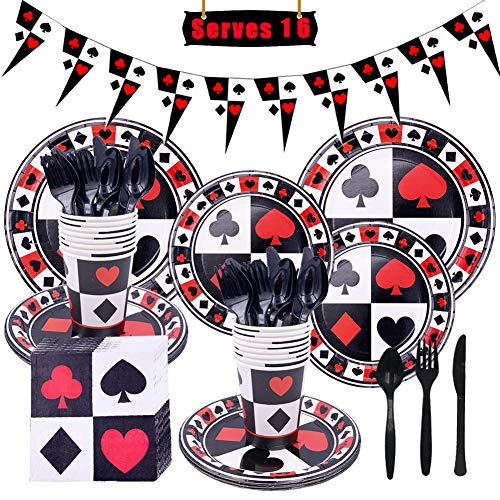 LOCCA Casino Party Supplies, Poker Bridge Birthday Party Supplies Kit for 16 Guests, Las Vegas Party Decorations Pack with Banner, Plates, Cups, Napkins, Knives, Spoons and Forks, Party Dinnerware Set