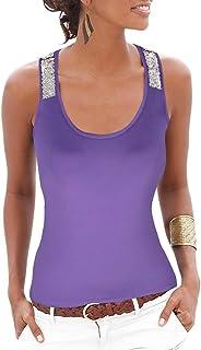 Yidarton Women's Sequin Vests Casual Tank Tops Sleeveless T Shirt Blouses(Purple,L)