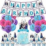 REYOK Frozen Fiesta Cumpleaños Decoración Azul Fiesta Guirnalda de Globos Nieve Banner para Niñas Cumpleaños Baby Shower Despedida de Soltera Decoraciones de Fondo