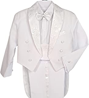 Dressy Daisy Boys' Formal Suits Tuxedo Christening Outfit Pageboy Suit 5 Pcs Set Tail