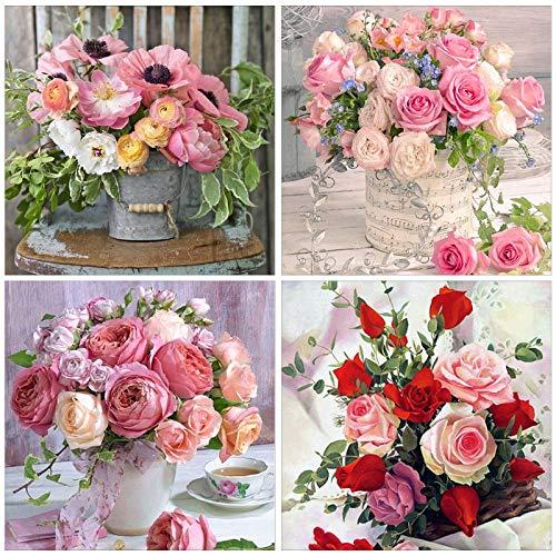 Buwei 4 Juegos Flor Rosa 5D Taladro Completo Diamante Pintura Bordado Kits de Punto de Cruz