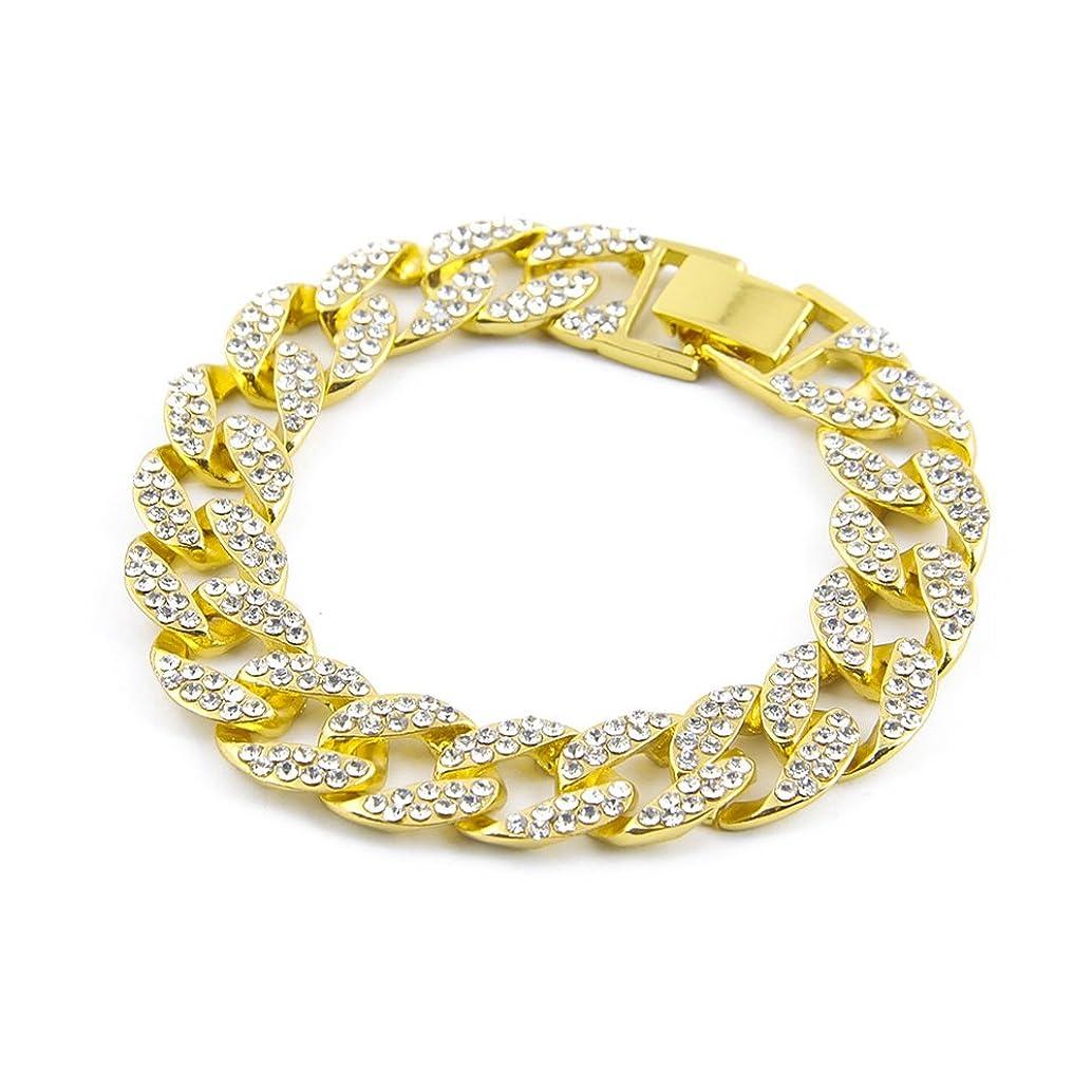 Mens Womens Hip Hop Titanium Steel Crystal Chain Bangle Link Bracelet,8.0inches (Bangle Link, Gold)
