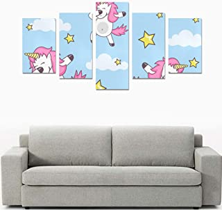 Liaosax Canvas Prints Set Dad Wall Art Funny Dabbing Party Dance Unicorn No Frame 5 Pieces Paintings Posters Prints On Canvas Hang for Bedroom Home Office Wall Decor